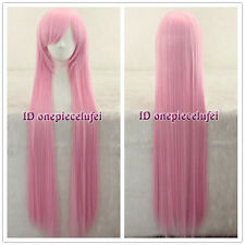 Angel Beats! Yui 100cm long Pink straight Cosplay Wig+ free wig cap