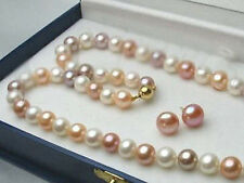 8-9MM Multi-Color Akoya Cultured Pearl Necklace + Earring Set AAA+++