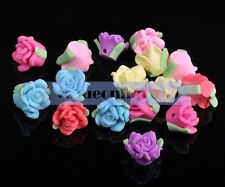 10pcs Sweet Polymer Clay Charms Rose Flower Loose Spacer Beads DIY Mixed Color