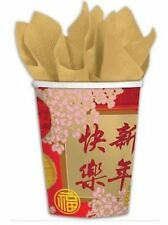 "Chinese New Year ""Blessings"" Paper Cups 8pack 266ml - Oriental"