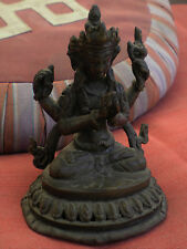 "Slightly Old Bronze Chenrezig Statue for Dharma in Nepal, Tibet 5"" High"