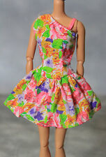 Genuine Mattel Barbie Fashion Doll Floral Pattern Short Dress Outfit Clothing