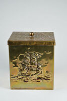 Antique brass tea caddy with sailing ship