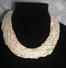 20 inch Beige Multi Strand Glass Seed Beads Necklace W/ Crocheted Button Closure