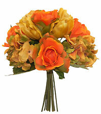 Orange FALL  ROSES HYDRANGEA TULIPS Bridal Bouquet Silk Wedding Flowers Decor