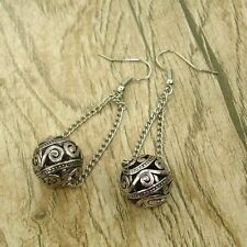 Vintage Tibet Silver Tone Earrings Ball Link Dangle Women Charms Fashion Jewelry