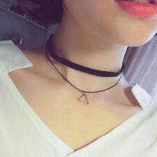 Fashion Retro Triangle Pendant Necklace Black Leather Cord Chocker Jewelry Chain