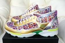 2015 CHANEL CC LOGO MULTI COLOR GOLD TWEED SNEAKERS TENNIS SHOES TRAINERS 39/9