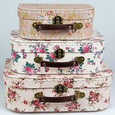 3 VINTAGE FLORAL ROSES STORAGE SUITCASES BOXES TRUNKS SET BEDROOM CASES GIFT