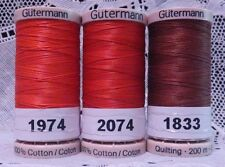 3 Red GUTERMANN 100% cotton hand thread for Quilting 220 yard Spools