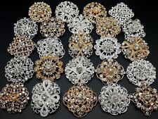 24pc lot Mixed Gold Silver Rhinestone Crystal Brooches Pins DIY Wedding Bouquet