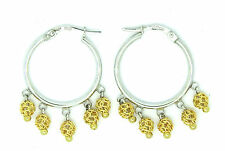 9ct White Gold 20mm Hoop with Five Yellow Gold Cage Bead Drops