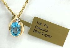 GENUINE 1.82 Carats BLUE TOPAZ & DIAMOND PENDANT 10k Yellow Gold *New with Tag*