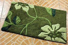 Green New 100% Cotton Absorbent Soft Bathroom Bedroom Floor Shower Mat Bath Rugs