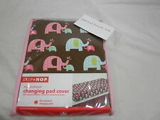 NEW Skip * Hop PINK ELEPHANT Jersey Changing Pad Cover  Pink Blue & Chocolate
