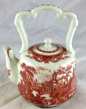 Red Transferware Castles Countryside Italian Scene Small Size Tea Pot with Lid