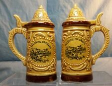 "Vintage Souvenir Beer Stein Colorado Salt & Pepper Shakers 4"" tall"