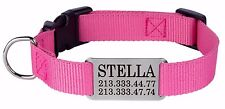 Personalized Dog Collar Nylon Engraved Nameplate S M L Pink Red Blue Lime Brown