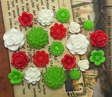 20pcs - Resin Flower Cabochons - Christmas Mix