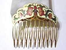 VINTAGE CLOISONNE HAIR COMB BEIGE WITH FLOWERS BUTTERFLY