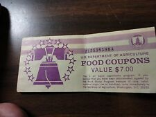 FOOD STAMP COUPON $7 book full of 2- $2 coupon 1989 MONTH CODE D UNC GEM