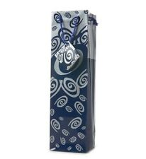 Wine Or Champagne Gift Bag - Blue & Silver Swirls