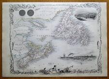 NOVA SCOTIA, NEWFOUNDLAND, CANADA, RAPKIN & TALLIS original antique map c1850