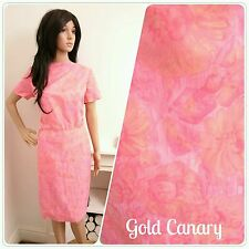 Vintage 50s 60s Pink Painted Shimmer Daisy Floral Shift Wiggle Dress 10 38