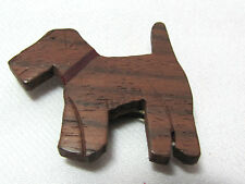 Vintage Dress Clip Airedale Terrier Dog Wood Unusual Adorable