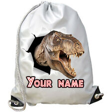 T-REX DINOSAUR HEAD PERSONALISED GYM / PE / DANCE / SWIMMING BAG *NAMED GIFT*
