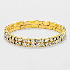 Rhinestone Bracelet 2 Row Wide Stretch Bangle Crystal Pave Wedding Bride GOLD
