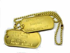 Personalized US Military Spec Original Dog Tags Bronze Matte Finish Dogtags