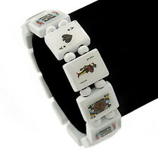 White Wooden Playing Cards Stretch Icon Bracelet - 19cm L