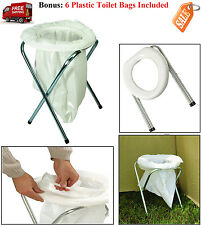 Portable Camping Toilet Outdoor Hiking Compact Folding Travel Potty Chair Seat