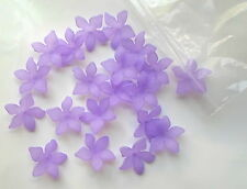 20 x Stunning Acrylic Frosted Purple/Lilac Flower 'Lily' Beads 28mm - A4