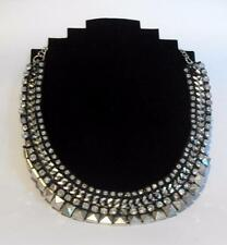 Contemporary silver tone Statement necklace / choker 11232