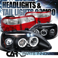Fit 99-00 Honda Civic 4Dr Black Halo LED Projector Headlights+Red Tail Lamps