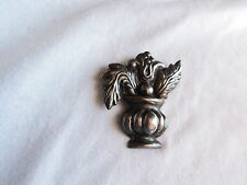 Brooch Pin Mexico Sterling Silver Jewelry Vintage Repousse 1940's (ww647)