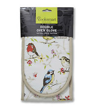 Cooksmart Dawn Chorus Birds Double Oven Glove Mitt Insulated Cotton Kitchen New