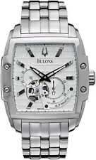 BULOVA DRESS AUTOMATIC 21 JEWELS SILVER DIAL ST. STEEL MEN'S WATCH 96A122 NEW