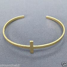 Matte Gold Cross Design Open Simple Religiously Inspired Bangle Bracelet