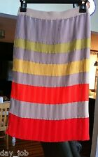 BCBGMAXAZRIA Selita taupe, orange, mustard striped pleated skirt, lined sz. XXS