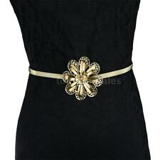 Nice Women Metal Belt Flower Rhinestone Hollow Out Stretchy Waistbelt Strap K0Z7