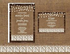 Wedding Invitations Rustic Wood Burlap Lights & Lace 50 Invitations & RSVP Cards