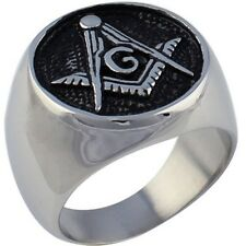 Sz 7-14 Antique Masonic Ring Band Stainless Steel Dome 10K Templar Signet Retro
