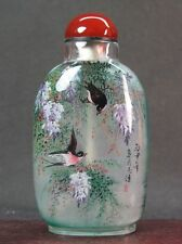 Fine Chinese Four Swallow Inside Hand Painted Glass Snuff Bottle:Gift Box