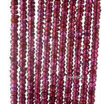 """4X2MM BRAZILLIAN RED GARNET GEMSTONE AAA FACETED RONDELLE LOOSE BEADS 13.5"""""""