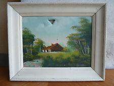Ancienne peinture sur toile, cadre en bois peint déco maison nature, toile signé