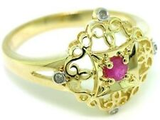 Ruby & Diamond 9ct 9K Solid Gold Antique Style Ring - SZ N/7.0 - 30 Day Returns