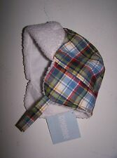 NWT GYMBOREE Mr Tow Truck Blue PLAID TRAPPER WINTER HAT 0-3 mo  Free US Shipping
